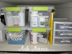 The Easiest way to Organize Medicine Bottles - Ask Anna 17 DIY Dollar Store Organizing Hacks To Organize Every Room of Your Home Organisation Hacks, Organizing Hacks, Bathroom Organization, Storage Organization, Storage Bins, Storage Ideas, Organized Bathroom, Bathroom Cleaning, Bathroom Storage