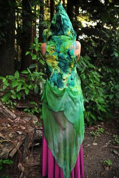Nuno Felted Melted Garden Fairy Leaf Vines And flowers Silk Chiffon Train Pixie Hooded Vest OOAK