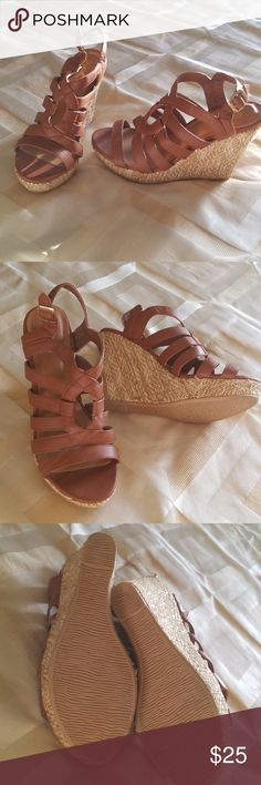 Tan Wedges Cute tan and cream wedges. Worn once and is in very good condition. Qupid Shoes Wedges