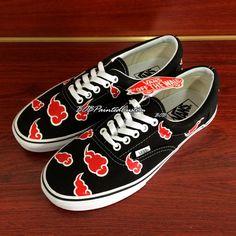 Lace Up Black Vans Custom Anime Naruto Akatsuki Design Hand Painted Canvas Shoes for Men Women Custom Design Vans Shoes Online