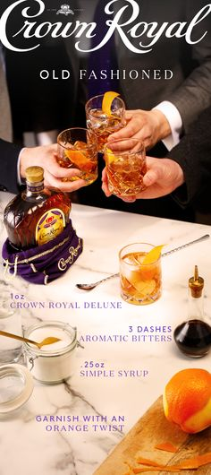 To mix an Old Fashioned, combine 1 oz Crown Royal Deluxe, 0.25 oz simple syrup, and 1-3 dashes of bitters in a mixing glass with ice. Stir until chilled, strain into a rocks glass over fresh ice and garnish with an orange twist.