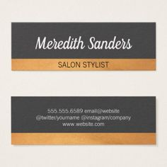 Simple Gray / Lux Trim Mini Business Card - stylist business card business cards cyo stylists customize personalize