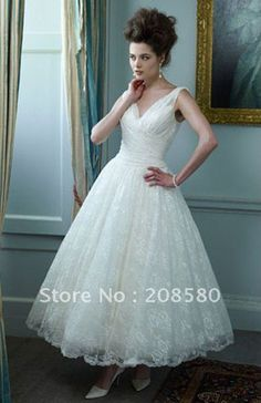 Informal v-neck lace ankle-length bridal wedding dresses gowns with straps W537 on AliExpress.com. 15% off $107.03
