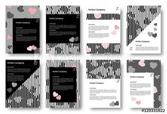 Set of templates with hearts. Chaotic pattern lines. Diagonal stripes backdrop. Chaos design rhombus. Applicable for covers, posters, flyers and banners. Vector illustration.