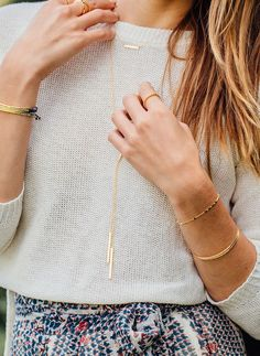 gorjana | Knox Necklace // Mave Lariat // Power Gemstone Bracelets