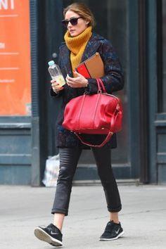 Olivia Palermo wearing Louis Vuitton Sofia Coppola Satchel Bag, Nike Free Run+ 3 Sneakers in Black and Ill.I Optics Metal Detail Sunglasses