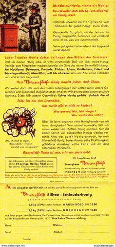 Werbung - Original-Werbung Prospekt 1954 - 2-Seiter :HONIG/ HONIGHAUS BIENENFLEISS / HANS KOGEL - NIENDORF - ca. 135 X 280 mm