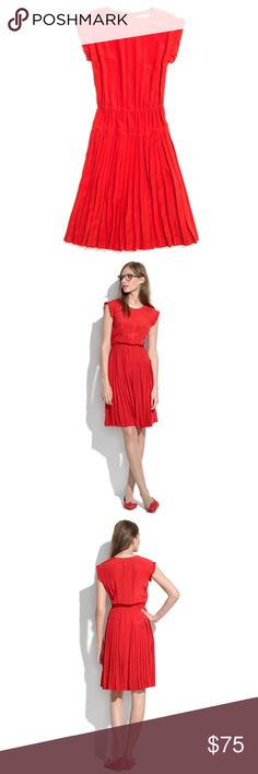 NWT Madewell Size 6 Red Silk Drop-pleat Dress New with tags. Size 6. Tried on, never worn. 100% silk. Dry clean only. Madewell Dresses