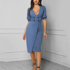 Solid Double-Breasted Puff Sleeve Wrap Dress dresses chicme Fashion Style chicme informs you on the latest fashion trendst Cheap Party Dresses, Designer Party Dresses, Formal Evening Dresses, Types Of Fashion Styles, Women's Fashion Dresses, Lady, Bodycon Dress, Womens Fashion, Latest Fashion