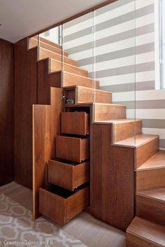 wodden staircase glass storage