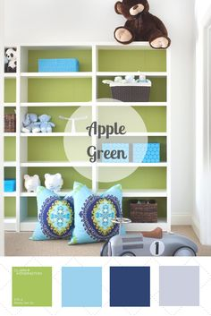 Apple green is bright and unexpected, yet it plays well with more traditional colors and in a variety of spaces. This palette blends apple green's punchy energy with more calming blues and a bit of white for contrast.