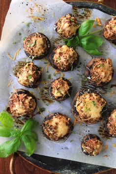 Sun-Dried Tomato and Basil Stuffed Mushrooms are made with a decadent cheesy filling. They are an elegant, yet easy to make appetizer that is perfect for any occasion! Mushroom Dish, Mushroom Recipes, Mushroom Casserole, Easy To Make Appetizers, Appetizer Recipes, Fruit Recipes, Dinner Recipes, Stuffed Mushrooms Cream Cheese, Mushroom Appetizers