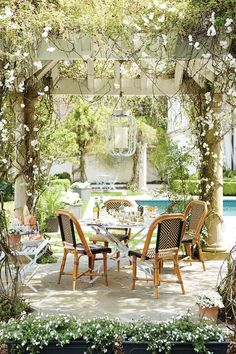 Outdoor entertaining under a pergola with Ballard Designs and Domino magazine Building A Pergola, Pergola With Roof, Outdoor Pergola, Cheap Pergola, Pergola Shade, Diy Pergola, Pergola Ideas, Patio Ideas, Pergola Kits