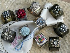 Beautiful napkin rings made from vintage jewelry. These would be cool with Vintage Buttons as well. I have some of my Grandma's...and I see napkin rings at S. Army all the time.