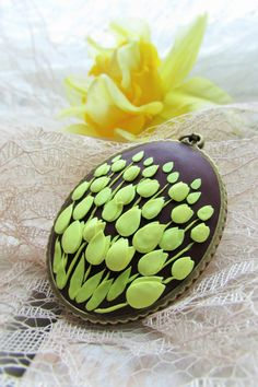Polymer clay jewelry Necklace pendant Tulips by VinetaHandMade