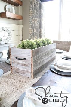 DIY barnwood planter box centerpiece for your dinning table.