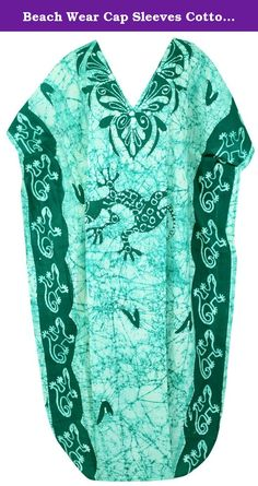 "Beach Wear Cap Sleeves Cotton V Neck Gown Long Maxi Cover Up Dress Caftan L-4X,Green. Description:- ==> Welcome to LA LEELA ==> Enjoy Beach, Breeze and Nature with La Leela's ""VIBRANT BEACH COLLECTION"" and stay calm and classy! . ==> Fabric : 100% COTTON HAND MADE BATIK PRODUCT INDIVIDUALLY MADE AND IS UNIQUE US Size : From Regular 14 (L) TO Plus Size 30W (5X) ➤ UK SIZE : FROM REGULAR 14 (M) TO 32 (XXXXL) ➤ BUST : 58 Inches [ 147 cms ]➤ Length : 51 Inches [ 129 cms ] ==> Clothing Type :..."