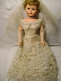 Betty The Beautiful Bride Vintage 1950's Doll. I had this doll. I cut her hair and colored it with a green(?) crayon. Then she disappeared. I was devastated!