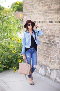 dark jeans, light denim jacket, black tee, burgundy felt hat, leopard flats