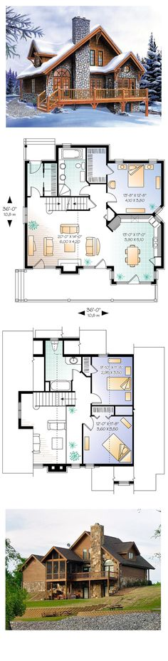 Hillside House Plan 65246 | Total Living Area: 1625 sq. ft., 3 bedrooms & 2 bathrooms. Good plan, decent size. Needs to have a half bath or separate commode for guests on first floor.