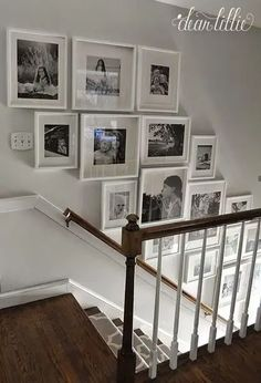 Staircase wall is often a cold corner overlooked by homeowners. But with a little creativity, your staircase wall can be transformed from an ignored area to an attractive focal point. The staircase wall is just like a blank canvas and you can displa Gallery Wall Staircase, Staircase Wall Decor, Grand Staircase, Staircase Ideas, Picture Wall Staircase, Picture Frames On The Wall Stairs, Stair Gallery, Staircase Frames, Hallway Ideas