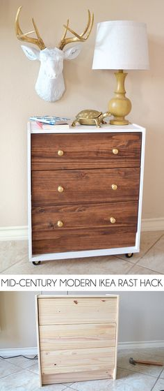 Check out this IKEA Rast Hack into a Mid-Century Modern inspired dream nightstand!