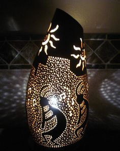 Handcrafted gourd table lamp with native american by tamiredding, $80.00