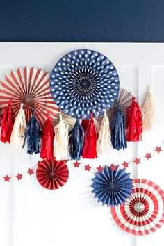 This Stars and Stripes Tassel Banner is the perfect addition to your Fourth of July bash this year! Party patriotically with this beautiful banner! Party Garland, Tassel Garland, Tassels, 4th Of July Celebration, Fourth Of July, Independence Day Parade, Tissue Paper Garlands, Party Napkins, Blue Party