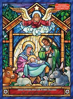 Stained Glass Nativity Chocolate Advent Calendar | New Religious | Vermont Christmas Co. VT Holiday Gift Shop Artwork by Randy Wollenmann