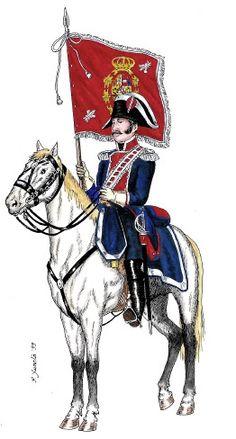 Guardias de Corps. Compañía Española 1808 Portaestandarte Parade Rest, Fernando Vii, British Army Uniform, War Of 1812, Total War, French Revolution, Napoleonic Wars, Empire, Military History