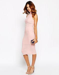 Image 4 of Lipsy Sheer Paneled High Neck Body-Conscious Dress