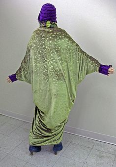 Golden Pear Floral Embossed Poly/Lycra Velvet made into Paul Poiret Cocoon Coat of Folkwear Patterns, by pao @ project minima