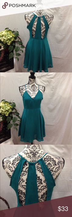NWT Emerald Cutout Back Skater Dress New with tags. Cutout back. Zip up side. Emerald green. Lined. Size medium. No flaws. Free gift Dresses Mini