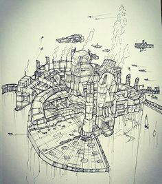 Here's a #penandink #drawing by @the_nihilistic_artist of a #futuristic #city that appears to be accessible only by #airship and other various #flyingmachines. The #industrialdesign and #dieslpunk look to this city make this a cool piece of #conceptart though I'm not sure that it's a place I'd want to live... the air is probably full of #smog and those cliffs that the city is built on appear to be perilous! I am interested to know the inner workings of this #sciencefiction #metropolis works…