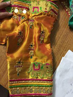 Kasu embellished blouse designs for silk saree Wedding Saree Blouse Designs, Best Blouse Designs, Pattu Saree Blouse Designs, Simple Blouse Designs, Stylish Blouse Design, Blouse Neck Designs, Sleeve Designs, Blouse Patterns, Hand Work Blouse Design