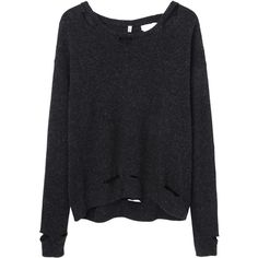 R13 Kate Sweater (€195) ❤ liked on Polyvore featuring tops, sweaters, shirts, jumpers, distressed sweater, slouchy shirt, wool shirt, long sleeve tops and long sleeve sweaters