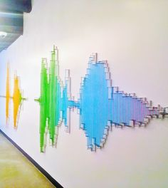 Sound waves generated by an Okta tag line translate into a string art installation. String Installation, Humble Design, Creative Writing Ideas, Rainbow Aesthetic, Wave Art, Digital Wall, Sound Waves, Gold Art, Science Art