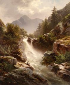 Canvas Painting Landscape, Landscape Art, Painting Abstract, Painting Prints, Mountain Paintings, Nature Paintings, Waterfall Paintings, Largest Waterfall, Dream Art