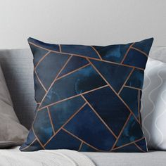 Ideas Living Room Navy Copper Interior Design For 2019 Gold Bedroom, Bedroom Black, Black And Copper Bedroom, Bedroom Decor, Navy Living Rooms, Copper Living Room Decor, Blue And Copper Living Room, Floor Pillows, Throw Pillows