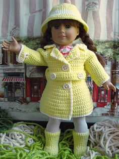 Crochet this bright rainy day set for your doll's collection!