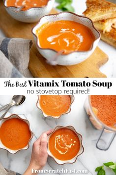 This quick, easy and irresistibly creamy tomato soup can be made entirely in the Vitamix! #vitamix #vitamixsouprecipe #vitamixtomatosoup #tomatosouprecipe