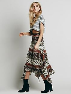 Arabella Printed Maxi Skirt | Boho printed crepe maxi skirt. American made, with an asymmetrical flared hem. Waistband features a stretchy elastic back.  *By Free People + LOV PROJECT