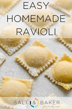 How to make ravioli dough without a machine is a lot easier than you think. This homemade ravioli pasta recipe is easy to make from scratch. These raviolis are so yummy filled with butternut squash, spinach and ricotta or any filling you'd like. Ravioli Pasta Recipe, Easy Pasta Recipes, Cooking Recipes, Pasta Making Recipe, Chicken Spinach Ravioli Recipe, Ravioli Dough Recipe Kitchenaid, Homemade Beef Ravioli Recipe, Spinach Ravioli Filling Recipe, Semolina Pasta Dough Recipe
