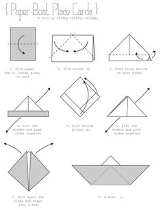 Paper boat place card instructions.