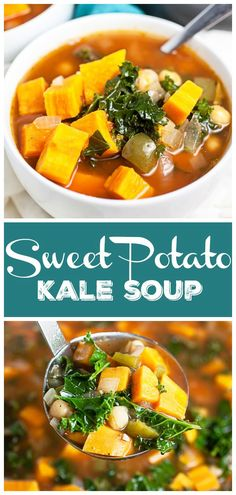This Sweet Potato Kale Soup recipe is healthy and easy to make! It's full of fresh vegetables like sweet potatoes, peppers, and greens. This soup is vegan and gluten free. It makes a great clean eating weeknight dinner. This meal is ready in a little more than 30 minutes. It makes the perfect freezer meal! A nice cozy meal for the cooler fall and winter months.