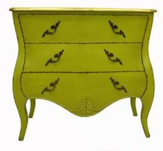 French designer furniture chest of 3 drawers green painted vintage
