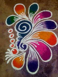 These New Year rangoli designs may not be as detailed as Sankranti rangoli designs or Diwali rangoli or even the themed ones like Ganesh rangoli, and so on. Easy Rangoli Designs Diwali, Rangoli Designs Latest, Simple Rangoli Designs Images, Rangoli Designs Flower, Free Hand Rangoli Design, Rangoli Border Designs, Small Rangoli Design, Rangoli Patterns, Rangoli Ideas