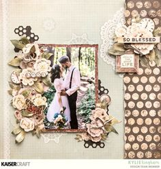 'So Blessed' Layout by Kylie Kingham DT Kaisercraft using their Anthology Collection. Bridal Shower Scrapbook, Wedding Scrapbook, Diy Scrapbook, Scrapbooking Layouts, Scrapbook Pages, Smash Book Pages, Frame My Photo, Paper Bag Album, Landscape Quilts
