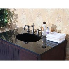 Absolute Black Granite, Backsplash And cUPC Sink -- Width: Height: Depth: Finish :Absolute Black Bathroom Vanity Tops, Bathroom Photos, Granite Backsplash, Countertops, Vanity Cabinet, Sink Faucets, Amazing Bathrooms, Black Granite, Egypt