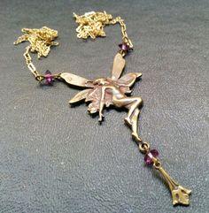 Vintage Unsigned Designer Nouveau Fairy Angel Purple Bead Long Necklace J136